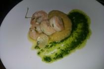 Gamberi in padella with chickpea puree. Le Virtu, South Philly. La Parnada