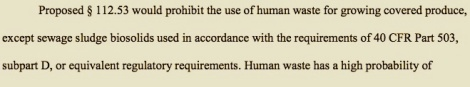 """I am not shitting you: Pg. 276 of """"Standards for the Growing, Harvesting, Packing, and Holding of Produce for Human Consumption; Proposed Rule,"""" 2013."""