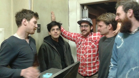 Montagnero (center) loves it when a plan comes together. From left : Kochinke, Izaak Schlossman, Towler, Darwell.