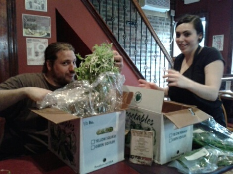 Farmer Ian Brendle of Green Meadow Farm with Chef Christina De Silva, formerly of Taproom on 19th. South Philly bar.  Farm to table.