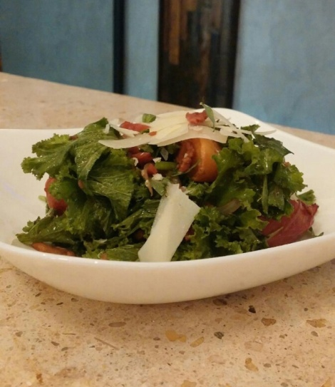 Jennifer Choplin's Summer Salad: Mustard greens, warm bacon vinaigrette, roasted peaches. Manchego cheese, bacon South Bowl Philly.