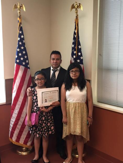 Posing with his family on July 10th, 2015. courtesy of Dionicio Jimenez.