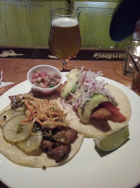 Braised pork belly & fried cod tacos from Industry Night at Chris' Jazz Cafe, 10.26.