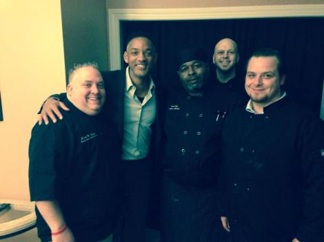 Tom McDonough (far right) meets Big Willy Style with Scott Clarke (far left) & crew of Flying Monkey Catering.