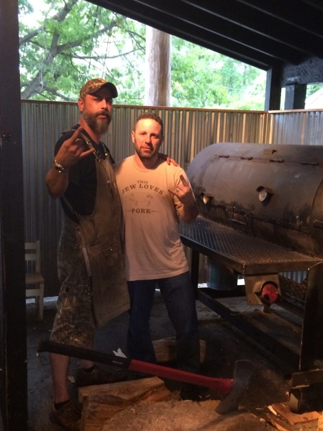 Michael Strauss (r) with Nestor Laracuente in September at Hoodoo Brown BBQ where Laracuente was pit master.