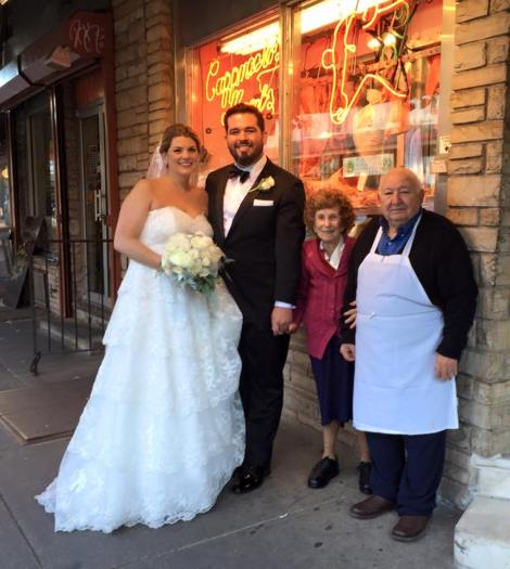 Antoinette & Harry Crimi w/ newlyweds on Saturday, Nov. 14th, 2015--the date of their 67th wedding anniversary. courtesy of Cappuccio's.