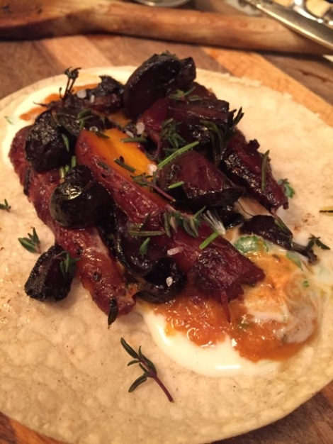 Braised mushroom & carrot taco w/sour cream & savory squash puree