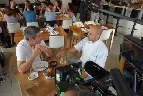 Solomonov with Meir Adoni at his Mizlala restaurant. Courtesy of Florentine Films.