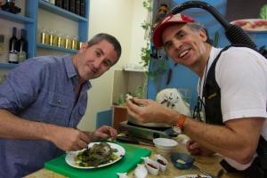 Solomonov & Sherman in Avigail's Kitchen-- Avigail Aharon's restaurant in Tiberias. Courtesy of Florentine Films.