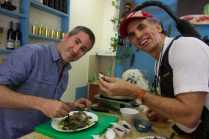 Solomonov & Sherman in Avigail's Kitchen-- Avigail Aharon's restaurant in Tiberias. Courtesy of Florentine Films.