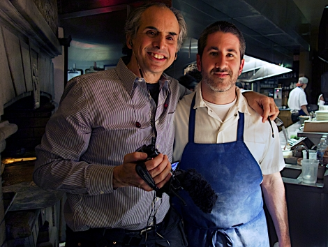 Producer/Director Roger Sherman and chef Michael Solomonov at Zahav Restaurant, Philadelphia. Courtesy of Florentine Films.