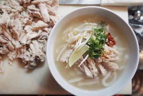 Khao piek sen (chicken soup with white rice noodles). Courtesy of Catzie Vilayphonh.
